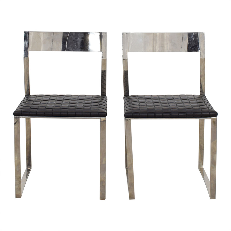 Nuevo Nuevo Camille Black Leather and Mirrored Steel Dining Chairs second hand