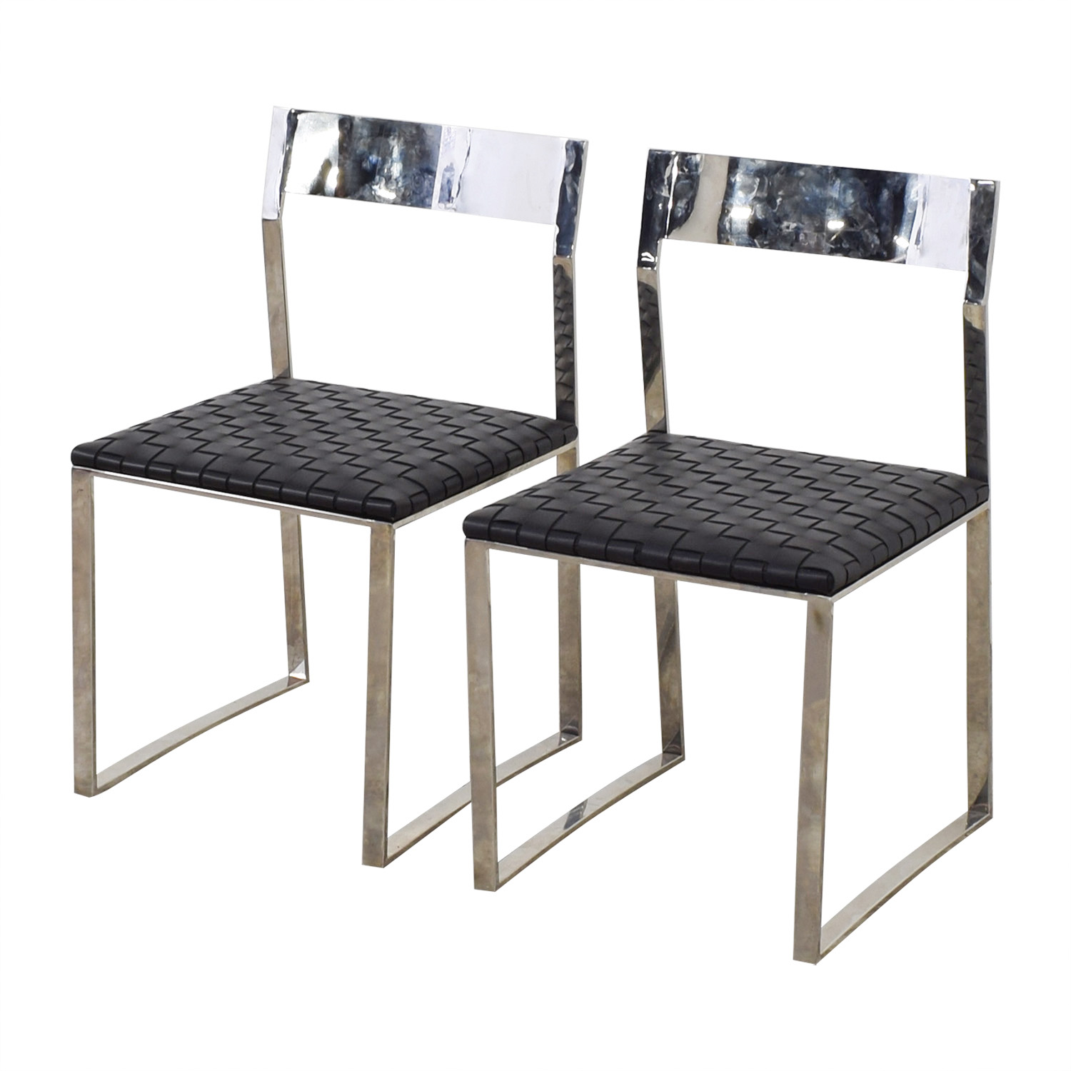Nuevo Nuevo Camille Black Leather and Mirrored Steel Dining Chairs on sale