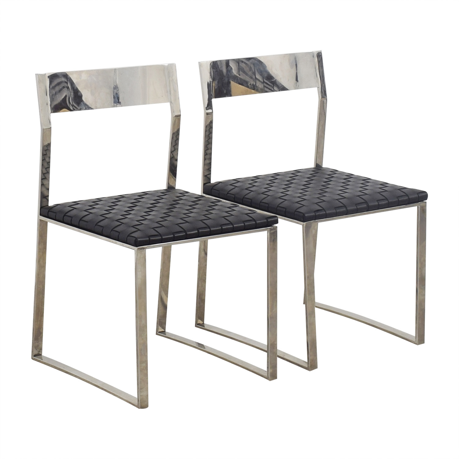 Nuevo Nuevo Camille Black Leather and Mirrored Steel Dining Chairs