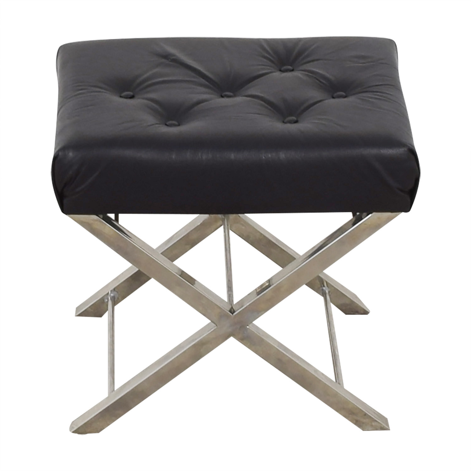 shop Cole & Grey Cole & Grey Black Tufted Leather Stool online