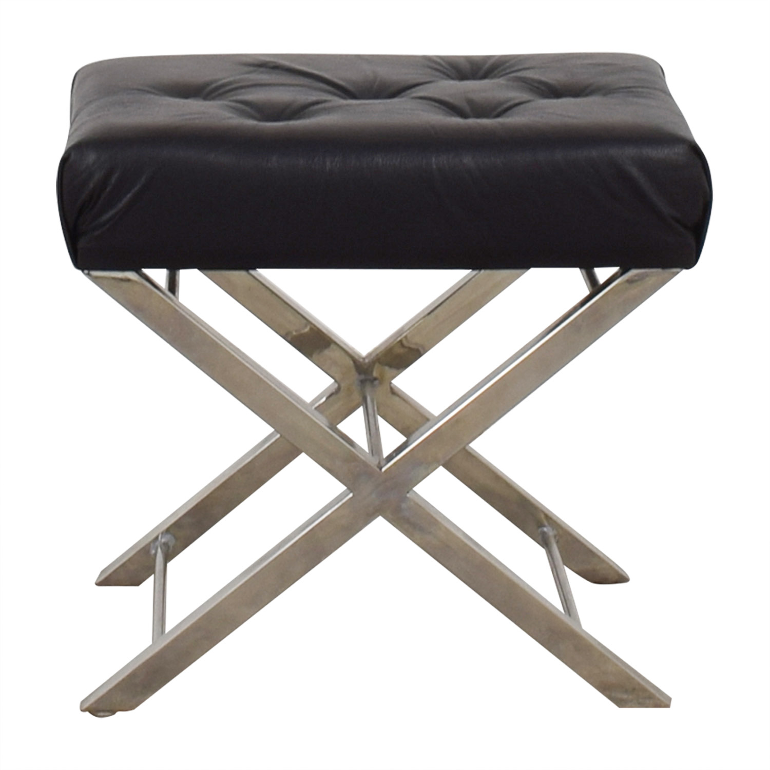 buy Cole & Grey Black Tufted Leather Stool Cole & Grey Sofas