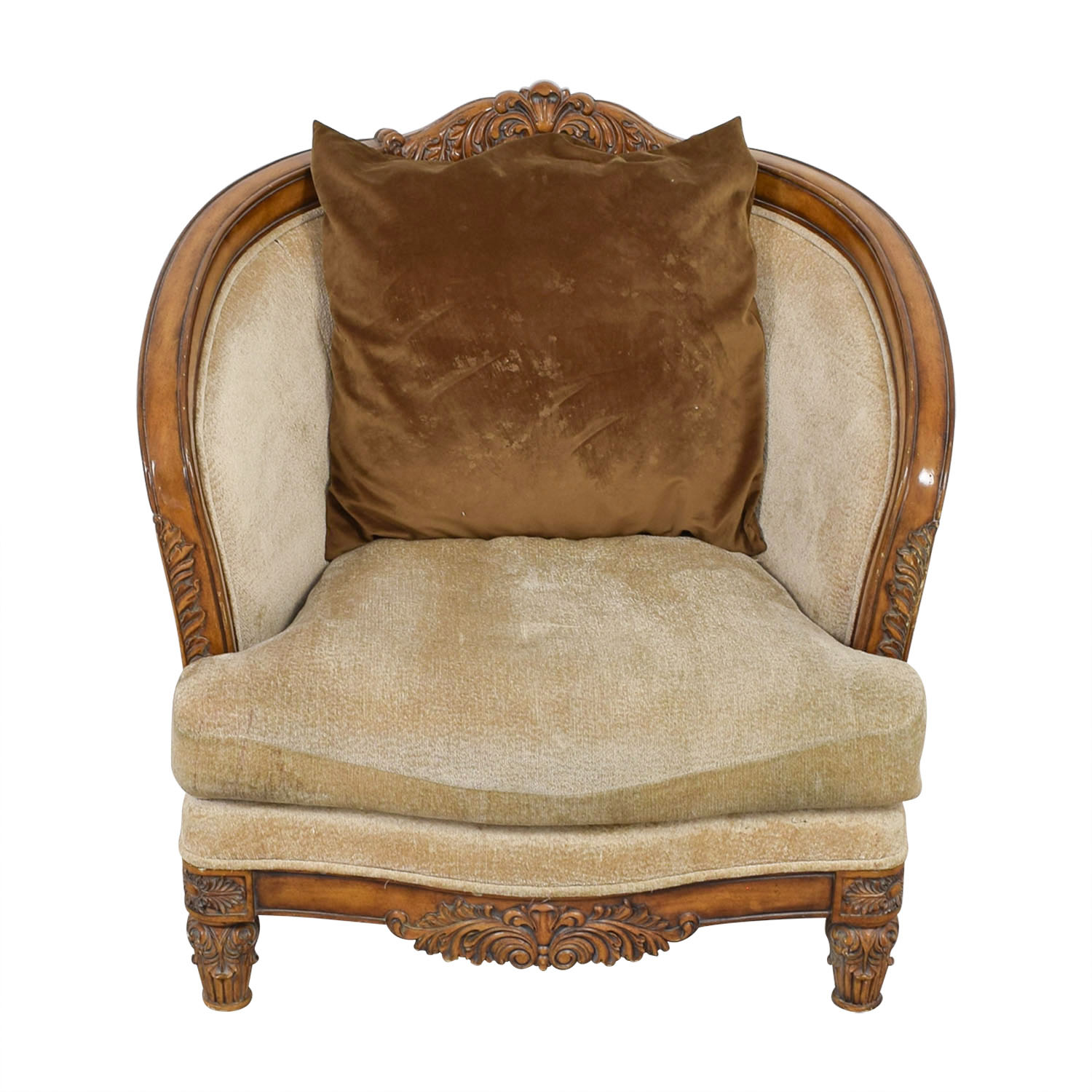 buy  Beige Upholstered and Wood Accent Chair online