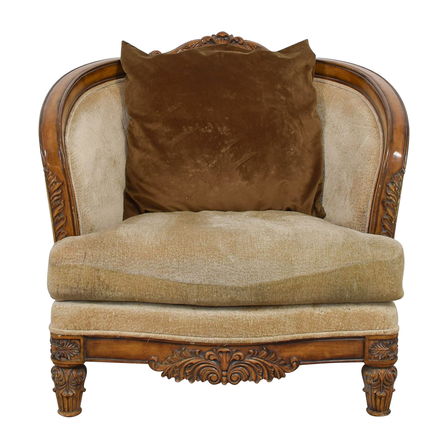 buy Beige Upholstered and Wood Accent Chair  Chairs