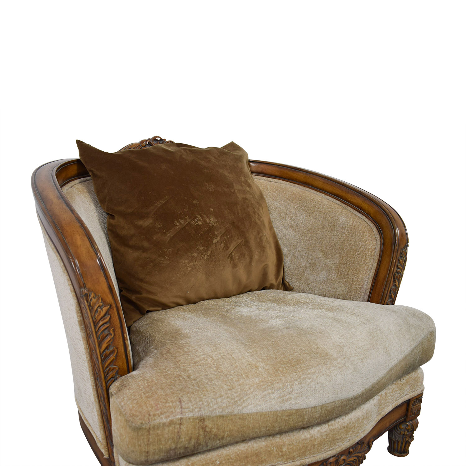 buy Beige Upholstered and Wood Accent Chair