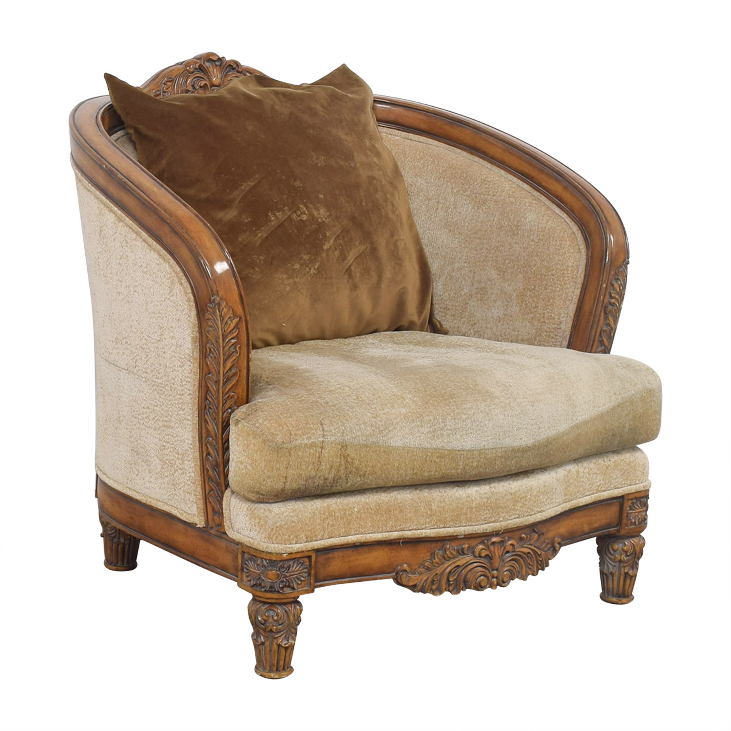 buy Beige Upholstered and Wood Accent Chair  Accent Chairs