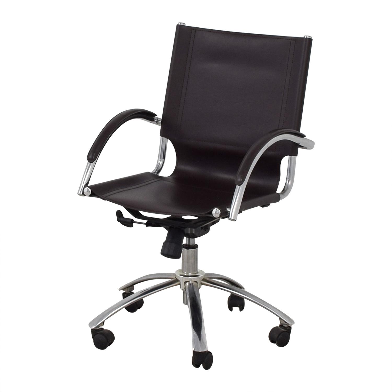 ... West Elm West Elm Brown Leather Swivel Desk Chair dimensions ...  sc 1 st  Furnishare & 81% OFF - West Elm West Elm Brown Leather Swivel Desk Chair / Chairs