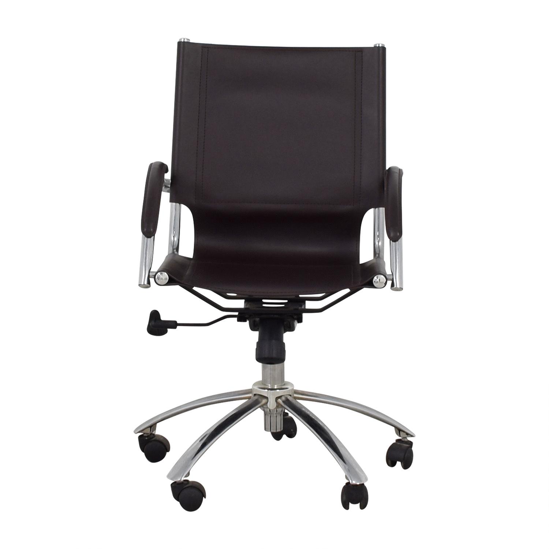 West Elm West Elm Brown Leather Swivel Desk Chair nj