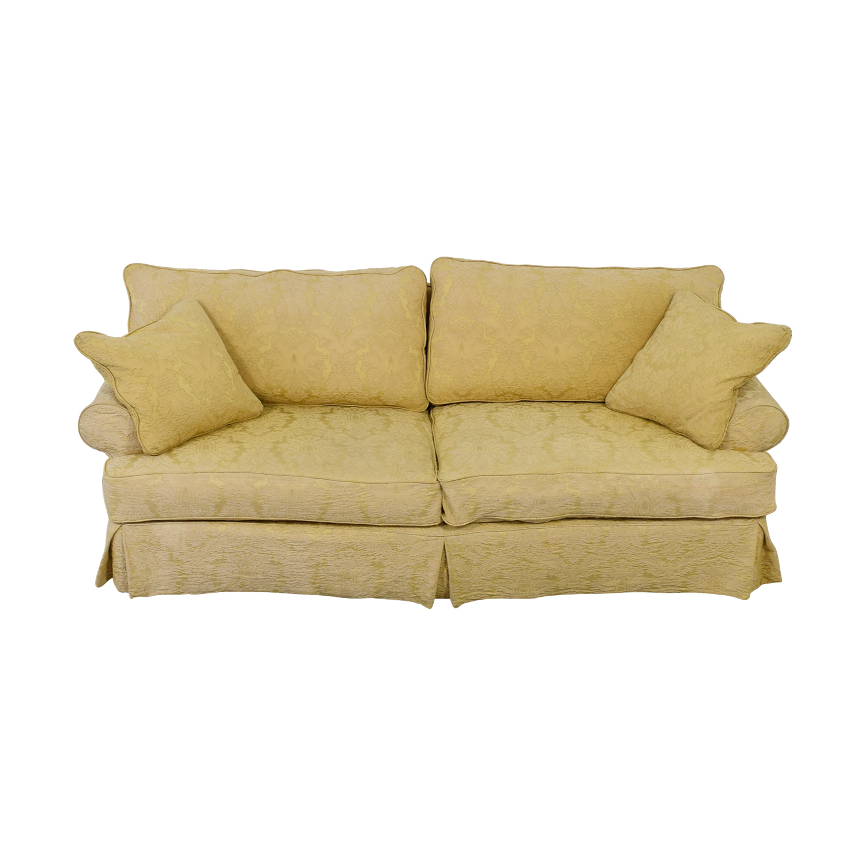 Custom Gold Jacquard Slipcover Sofa dimensions