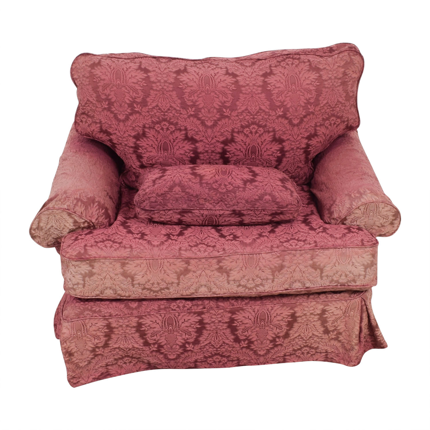 Custom Pink Jacquard Slipcover Accent Chair second hand