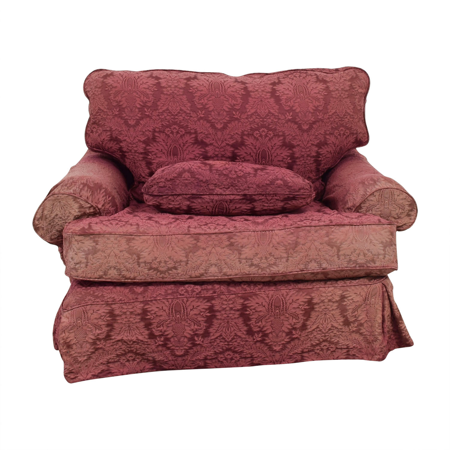 Custom Pink Jacquard Slipcover Accent Chair
