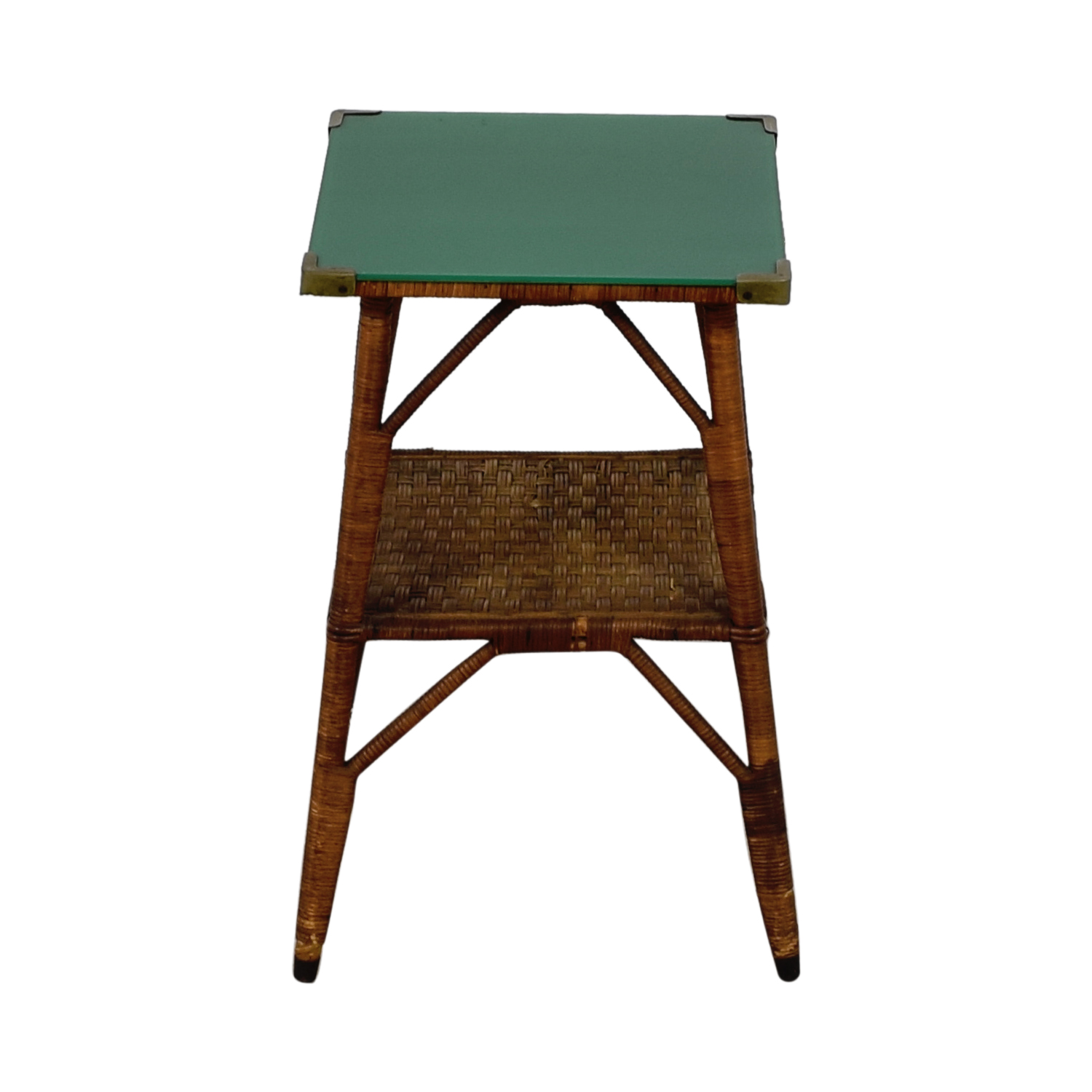shop  Wicker End Table with Green Glass Top online