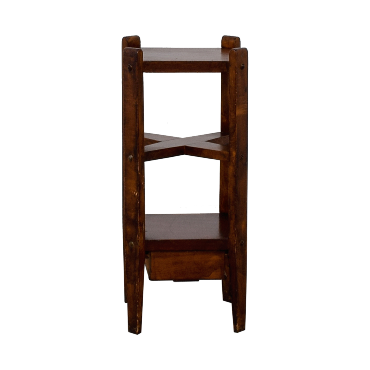 Single Drawer Wood End Table with Shelves