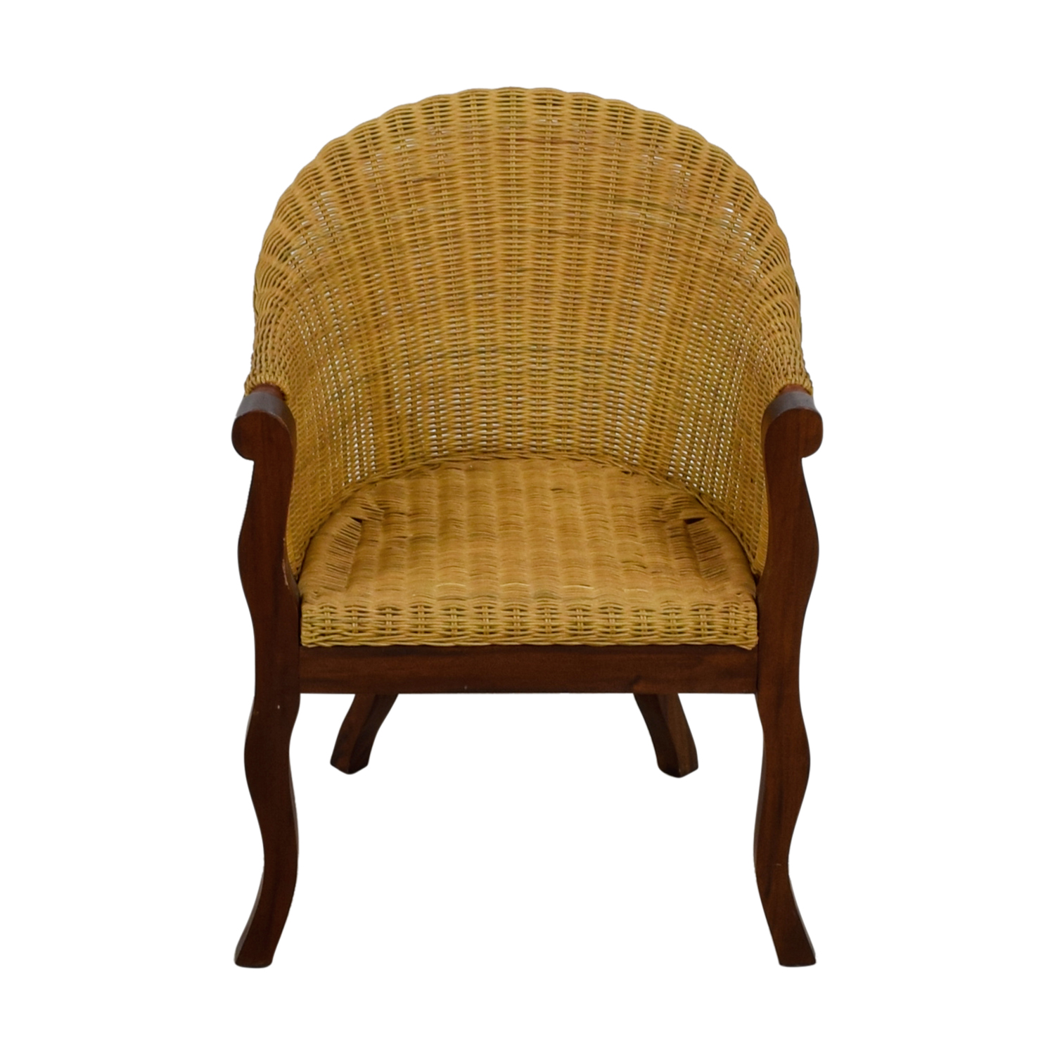 67 Off Wicker And Wood Accent Chair Chairs
