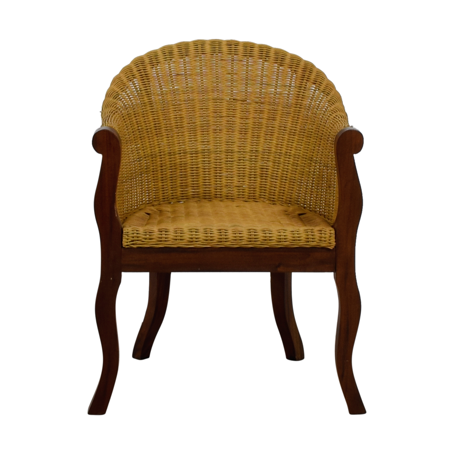 Wicker and Wood Accent Chair used
