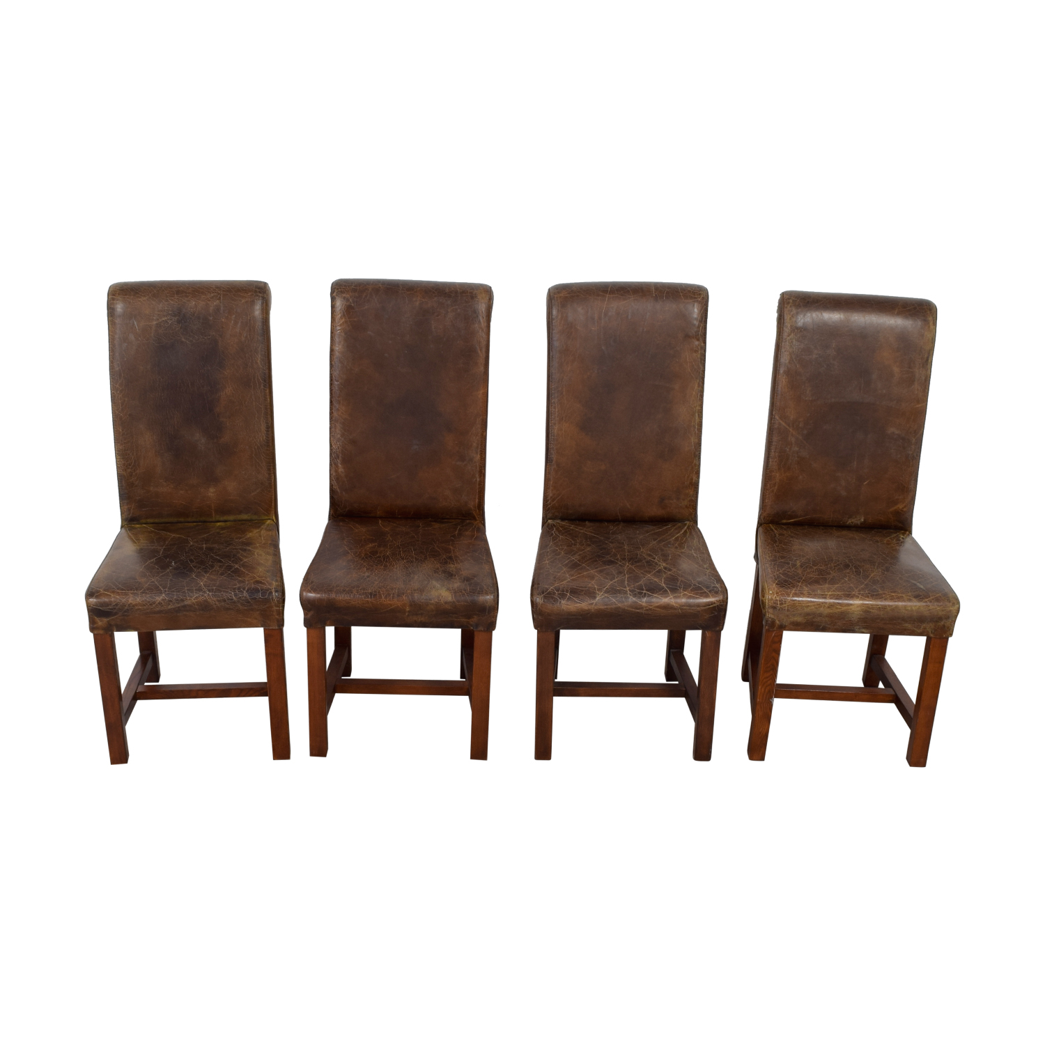 Faulkner Faulkner Distressed Brown Leather Chairs discount