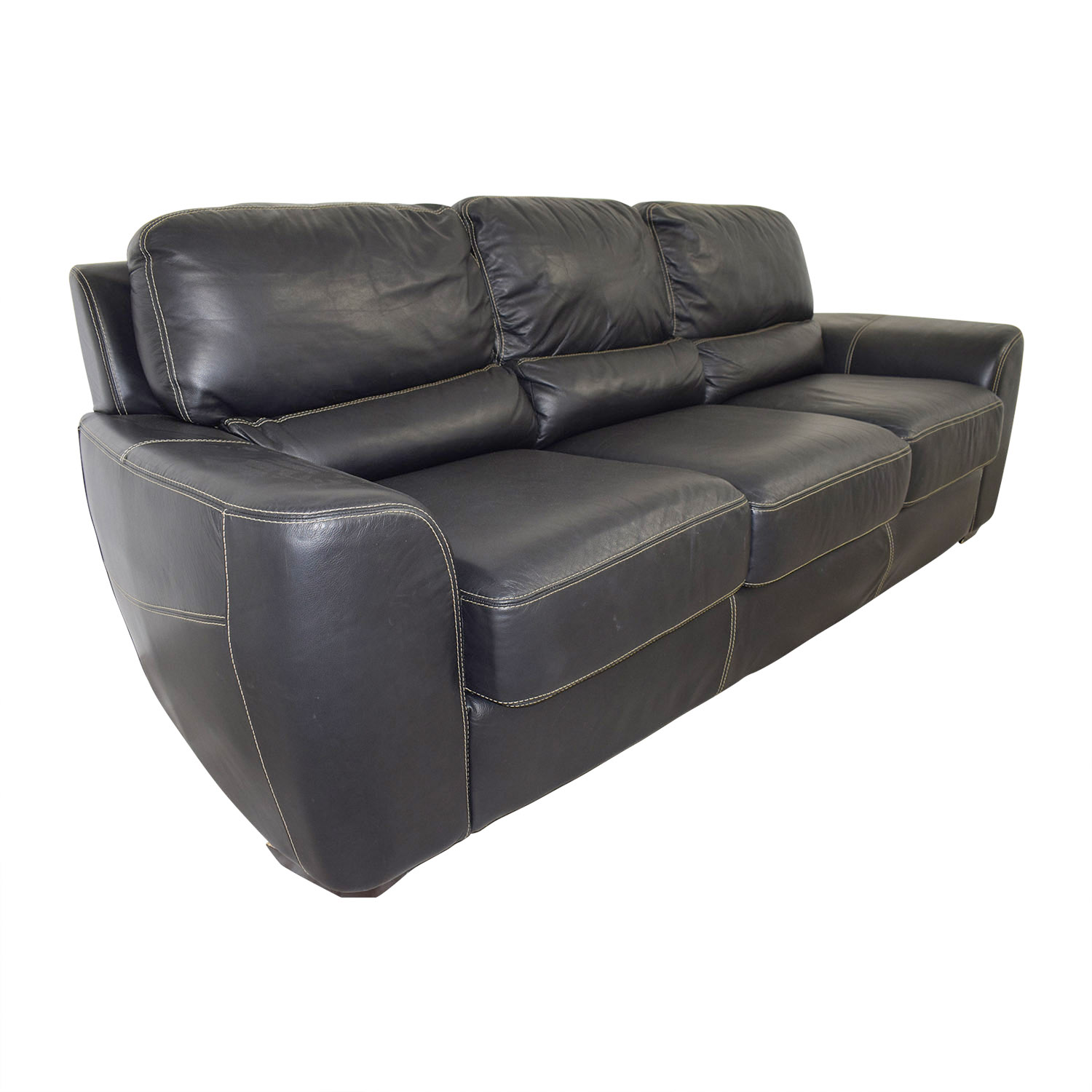 Stupendous 82 Off Z Gallerie Z Gallerie Three Cushion Black Leather Couch Sofas Ibusinesslaw Wood Chair Design Ideas Ibusinesslaworg