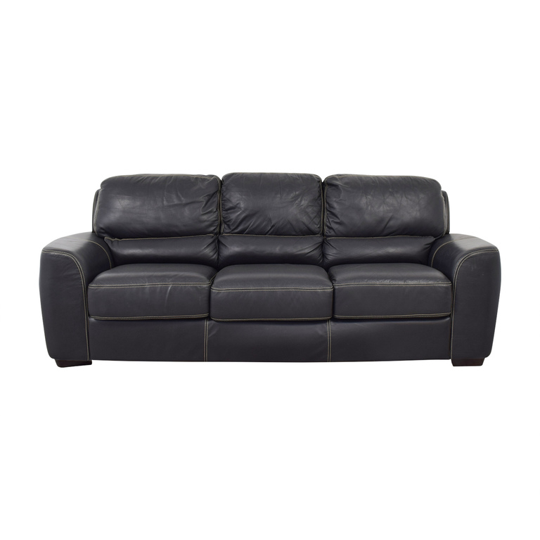 buy Z Gallerie Three-Cushion Black Leather Couch Z Gallerie