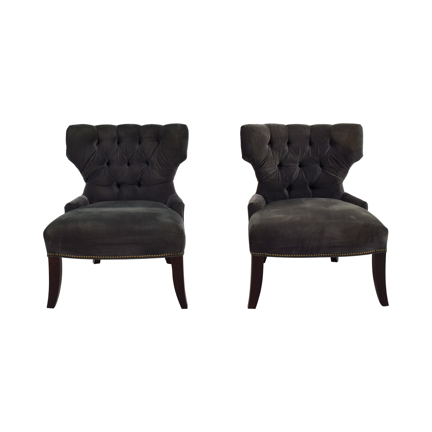 Room & Board Room & Board Grey Velvet Accent Chairs dimensions
