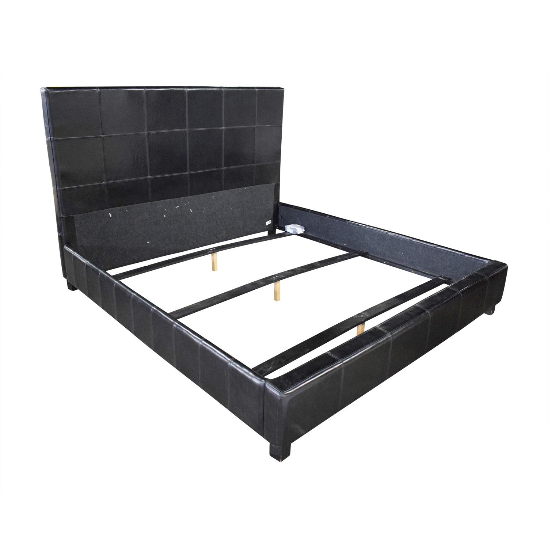 74 Off Macy S Macy S Ebony Leather King Bed Beds