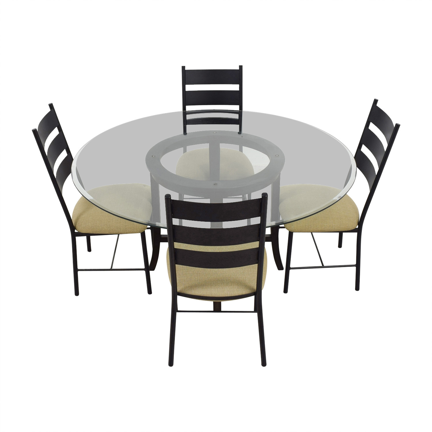 shop Crate & Barrel Crate & Barrel Halo Ebony Round Glass Top Dining Set online