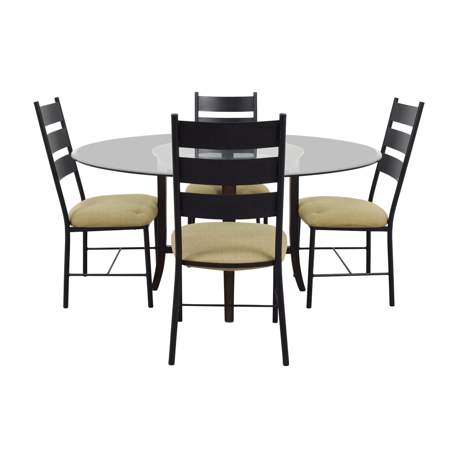 shop Crate & Barrel Halo Ebony Round Glass Top Dining Set Crate & Barrel