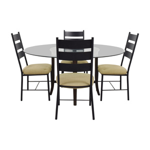 Crate & Barrel Crate & Barrel Halo Ebony Round Glass Top Dining Set used