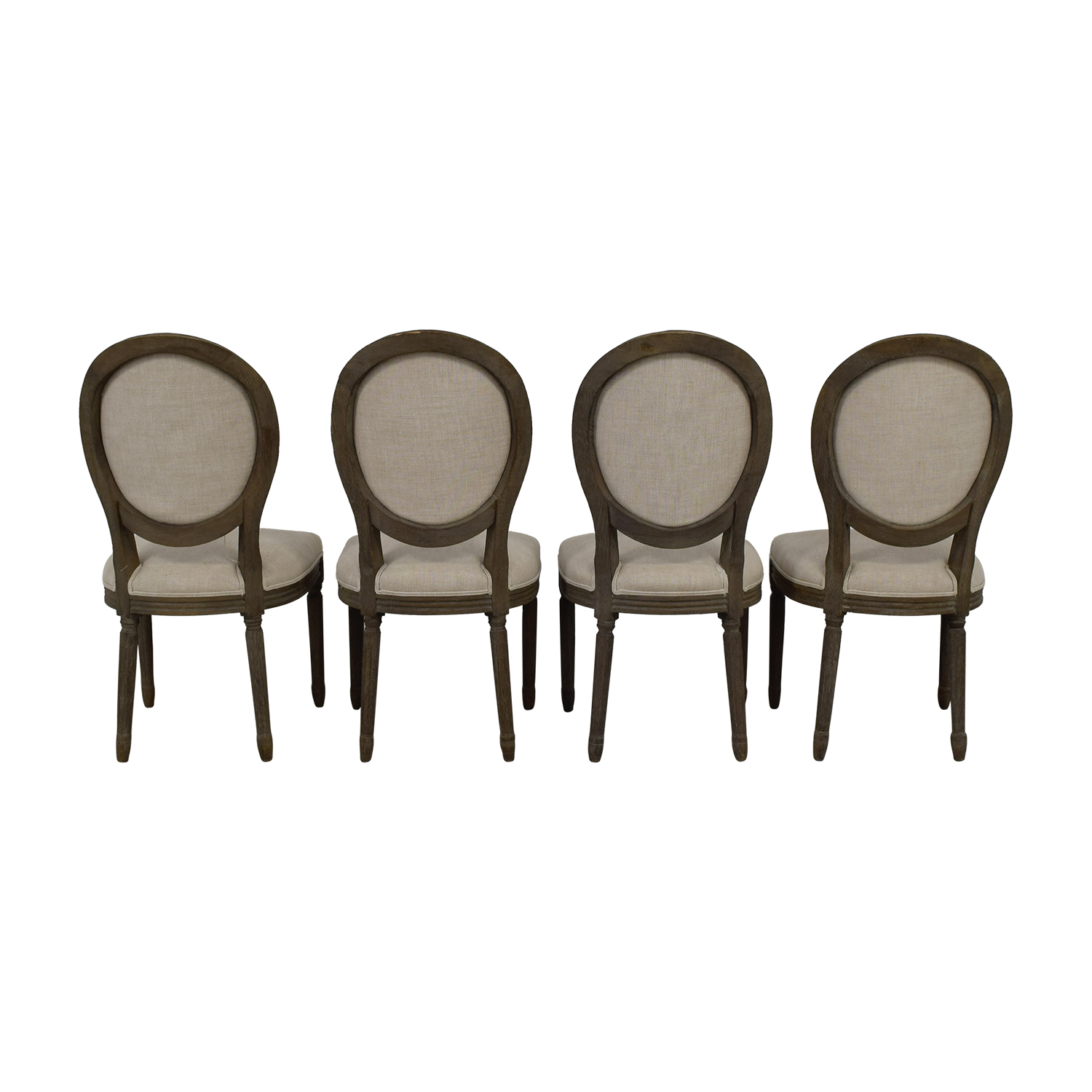 Restoration Hardware Restoration Hardware Vintage French Round Fabric Side Chairs wood/ beige