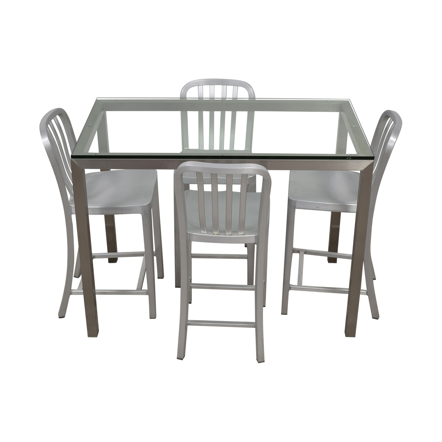 Crate & Barrel Crate & Barrel Parsons Glass and Metal High Table Set discount