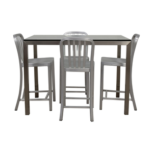 shop Crate & Barrel Parsons Glass and Metal High Table Set Crate & Barrel