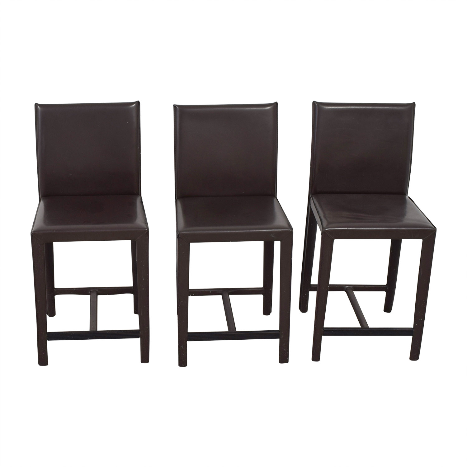 Crate & Barrel Crate & Barrel Folio Brown Leather Bar Stools on sale