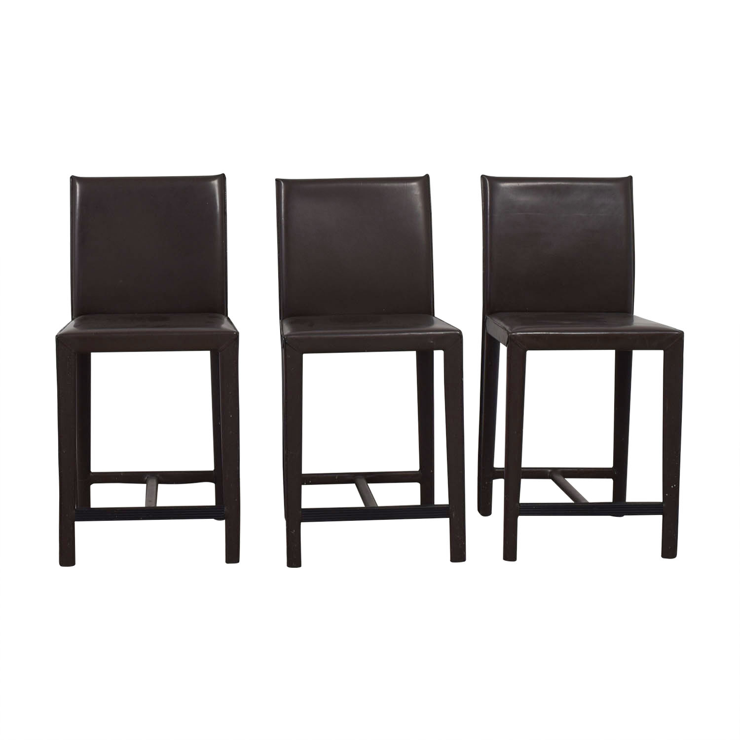 Crate & Barrel Crate & Barrel Folio Brown Leather Bar Stools nj
