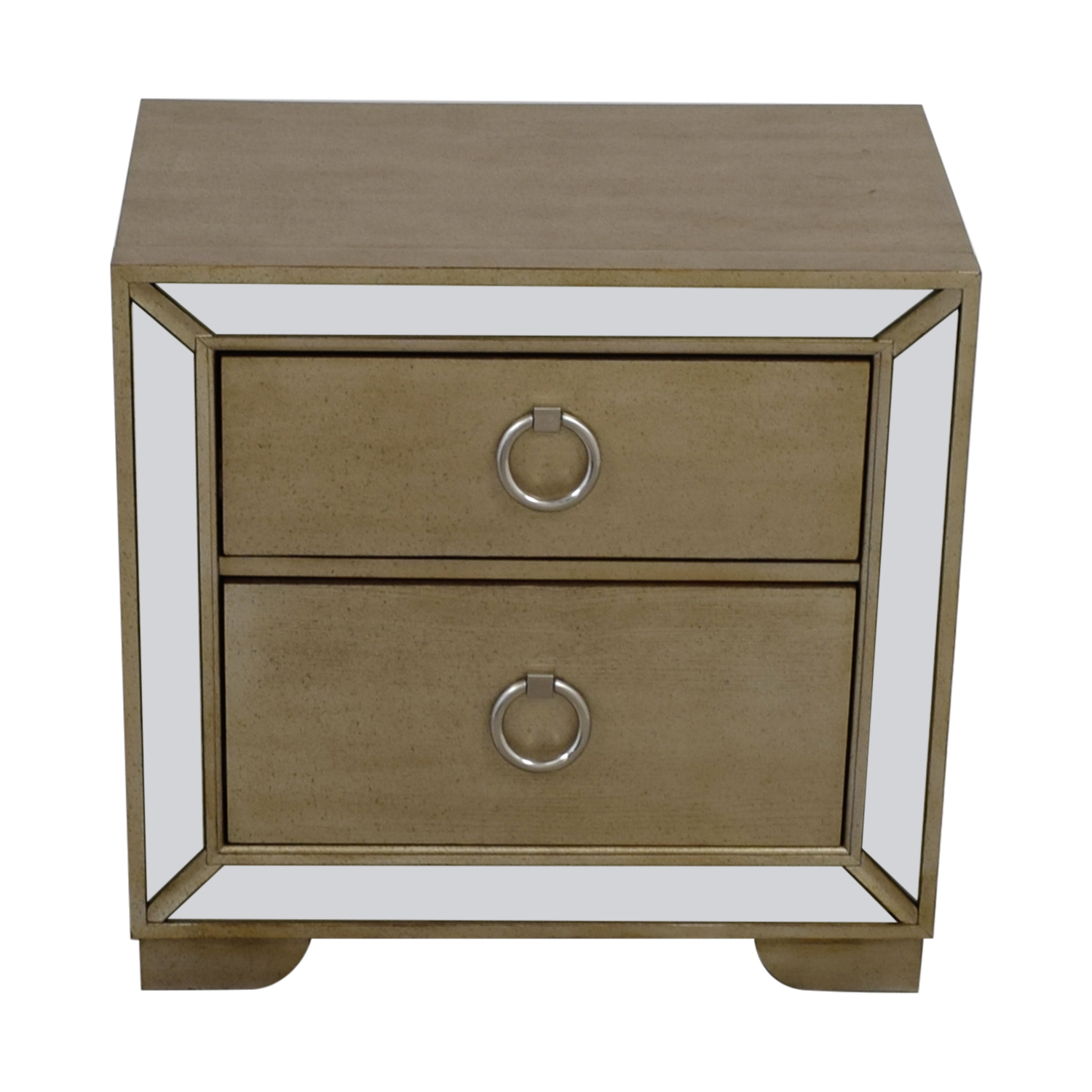 buy Art Deco Silver and Mirrored Two-Drawer Side Table  Tables