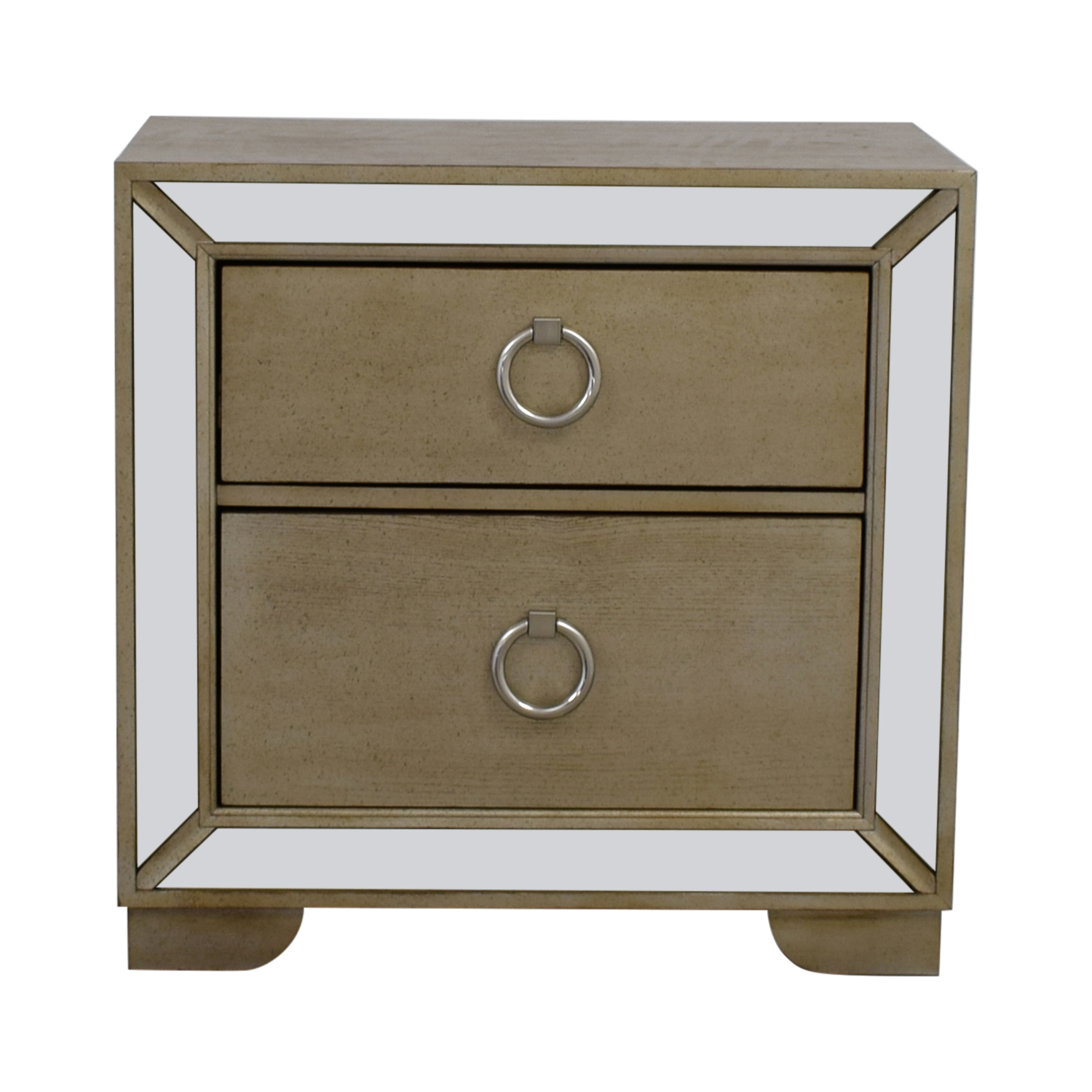 Art Deco Silver and Mirrored Two-Drawer Side Table dimensions