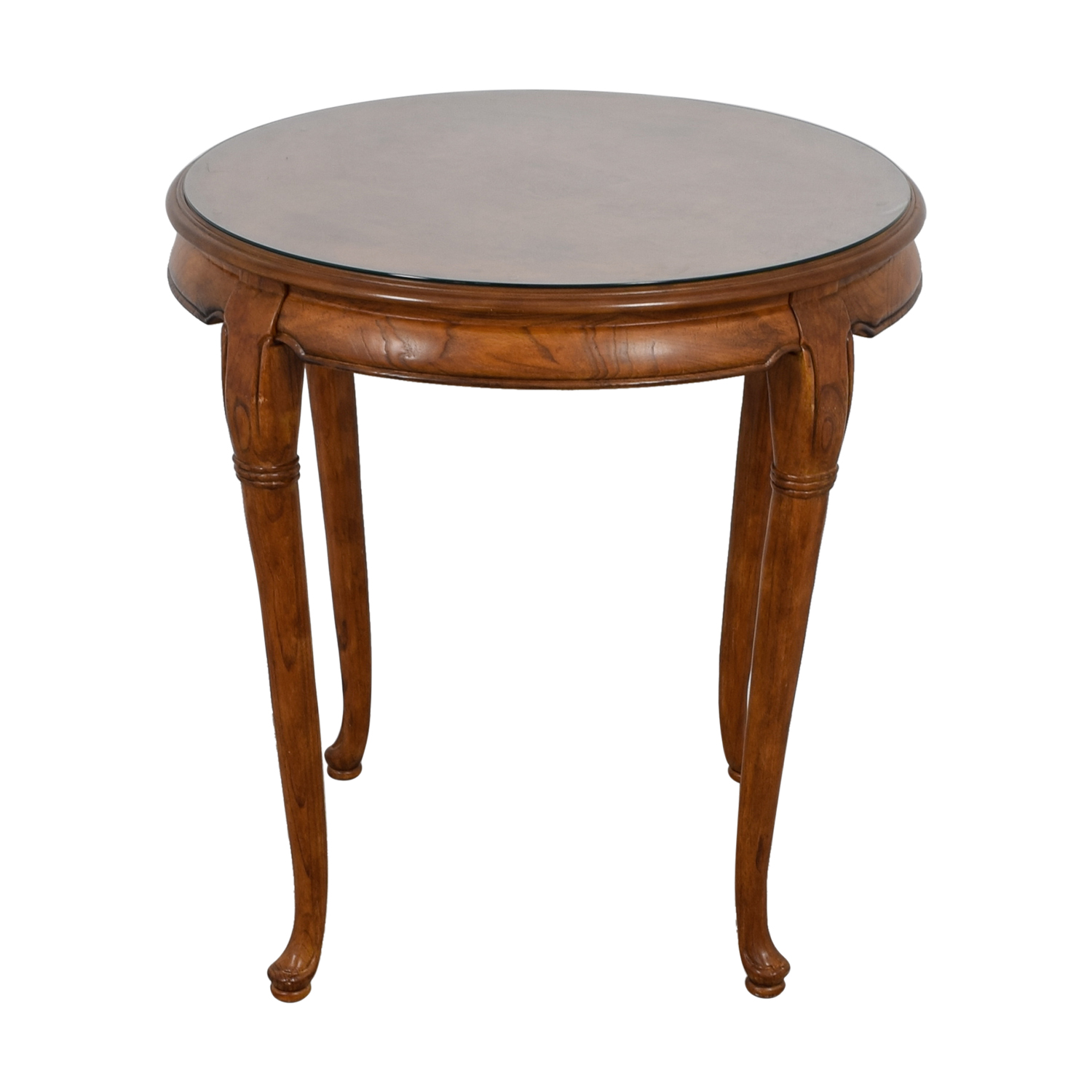buy Round Wood Cafe Table with Protective Glass Top  Dinner Tables