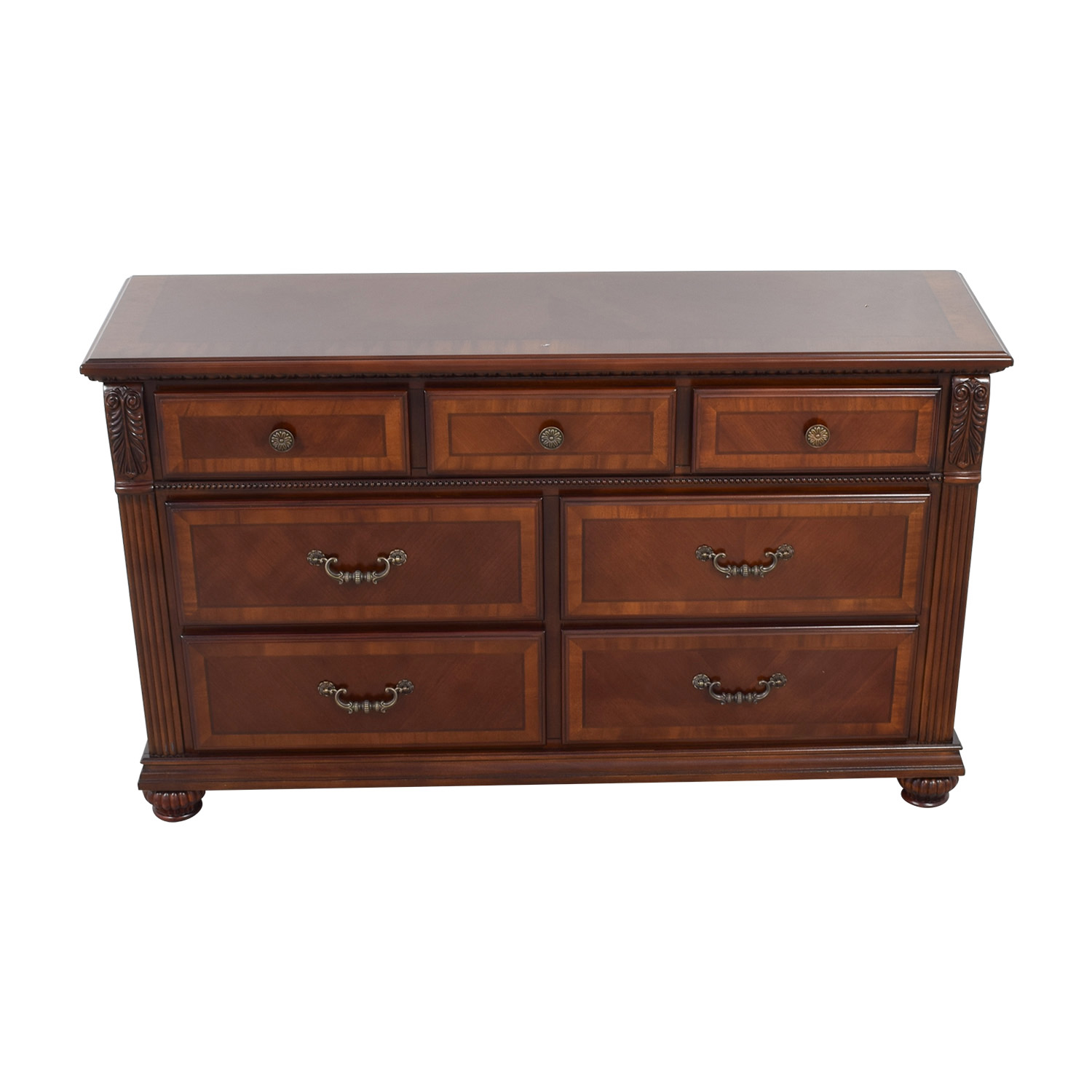 Raymour & Flanigan Raymour & Flanigan Carved Seven-Drawer Dresser discount
