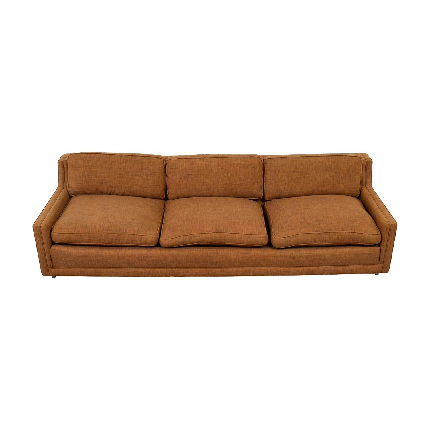 Brown Three-Cushion Sofa