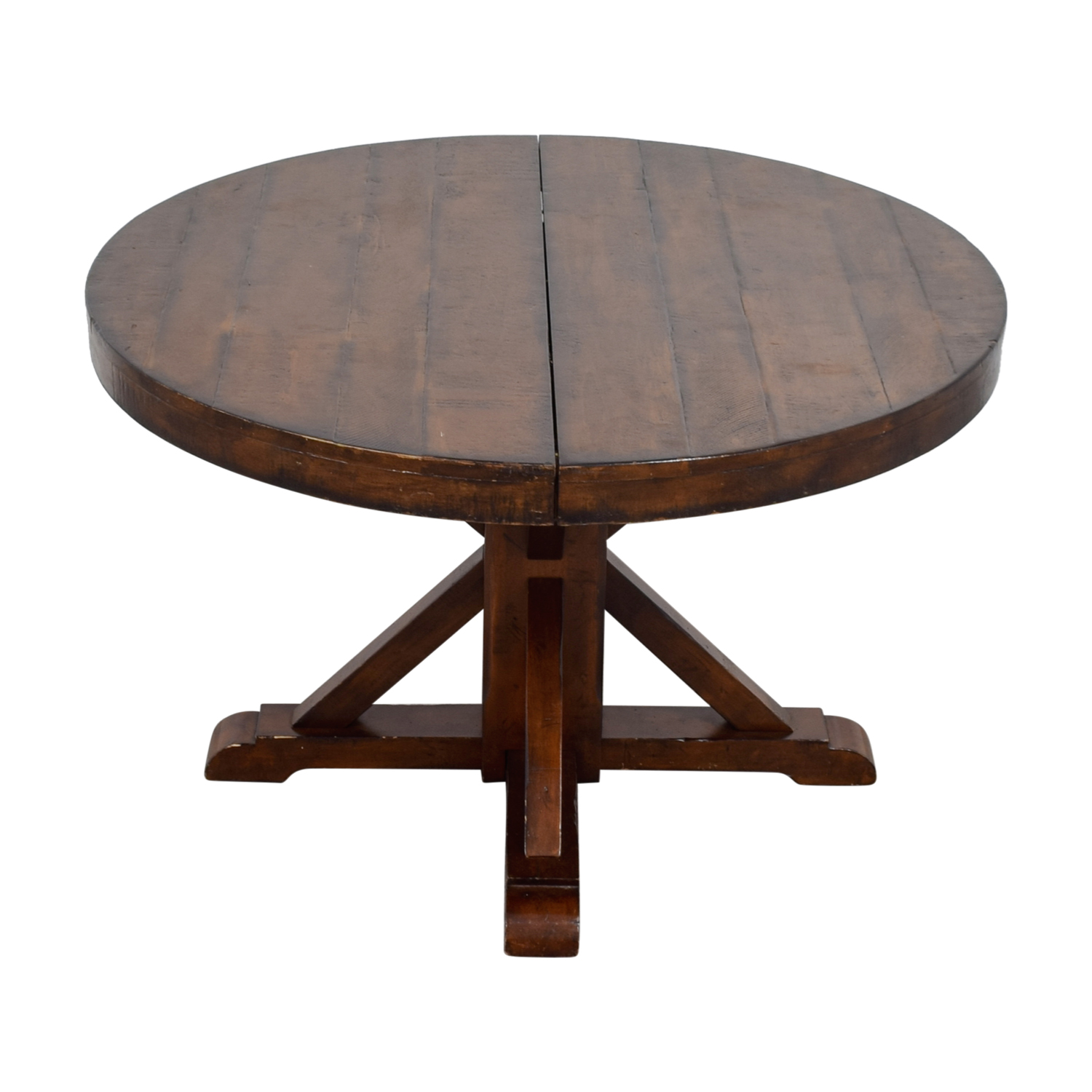 OFF Pottery Barn Pottery Barn Benchwright Extending Round - Pottery barn round pedestal table