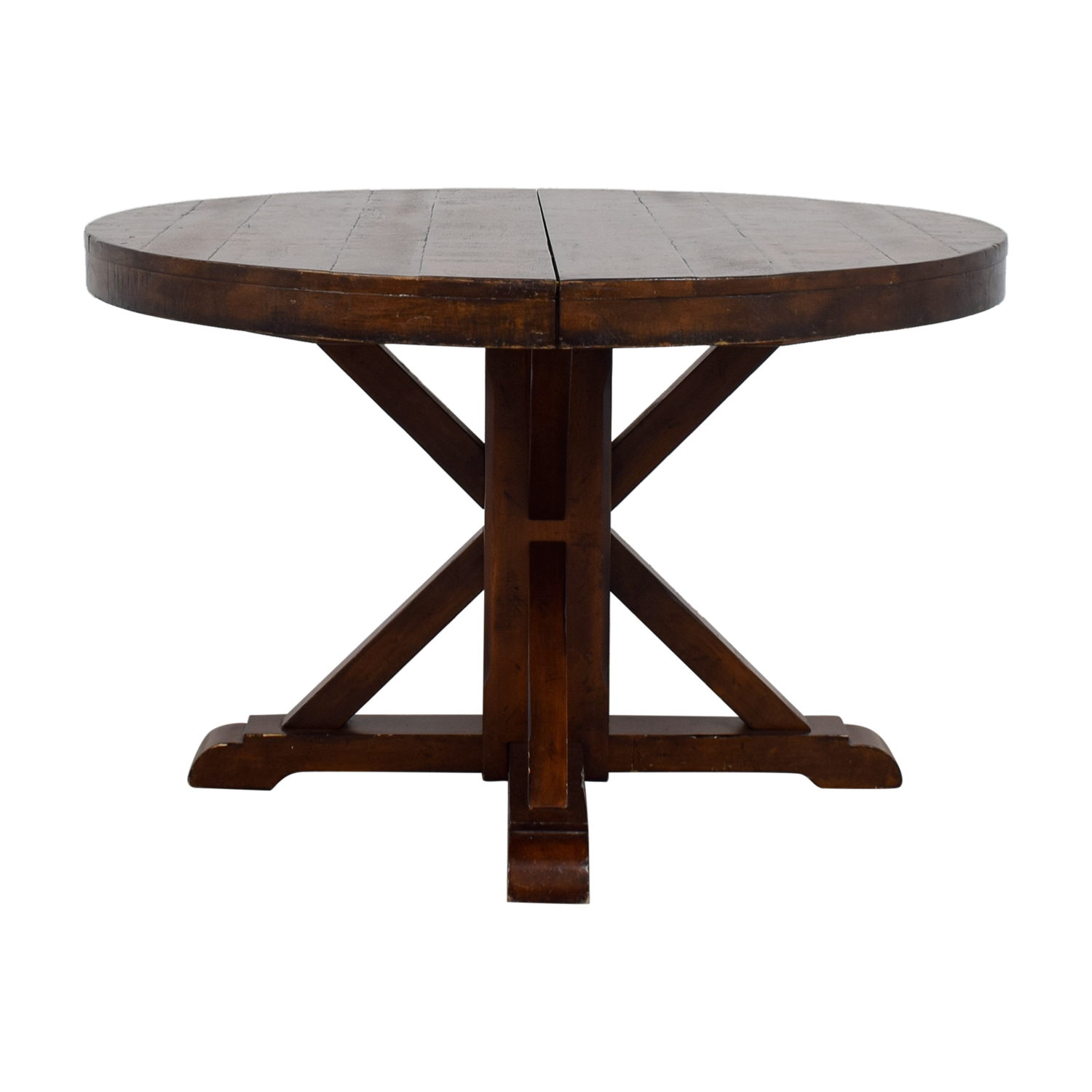 54% OFF   Pottery Barn Pottery Barn Benchwright Extending Round Pedestal  Dining Table / Tables