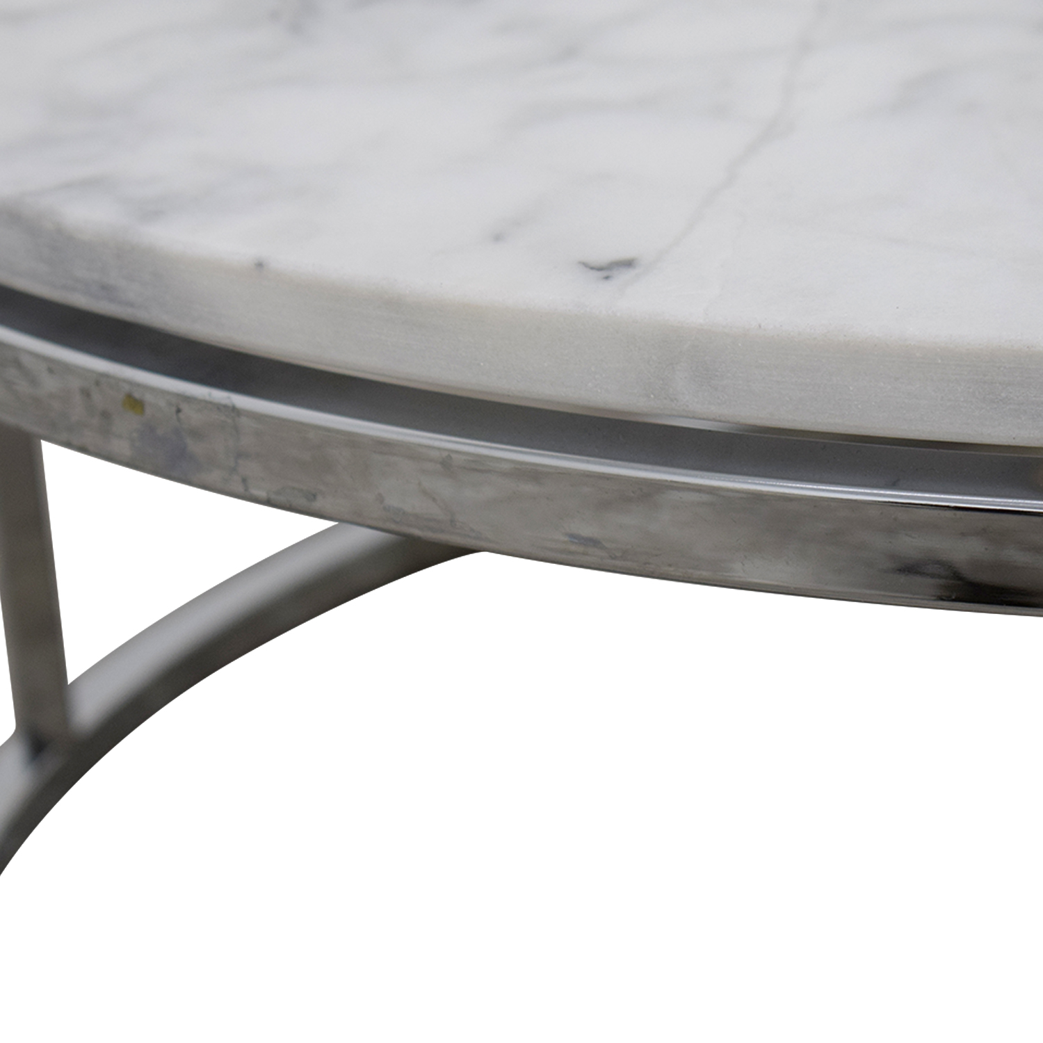CB2 CB2 Round White Marble Coffee Table Coffee Tables