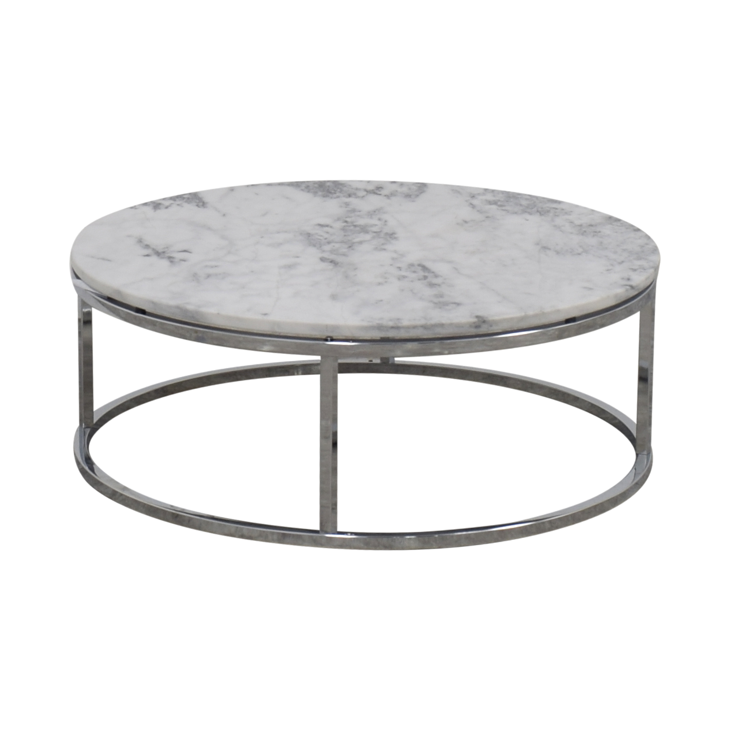 shop CB2 Round White Marble Coffee Table CB2 Coffee Tables