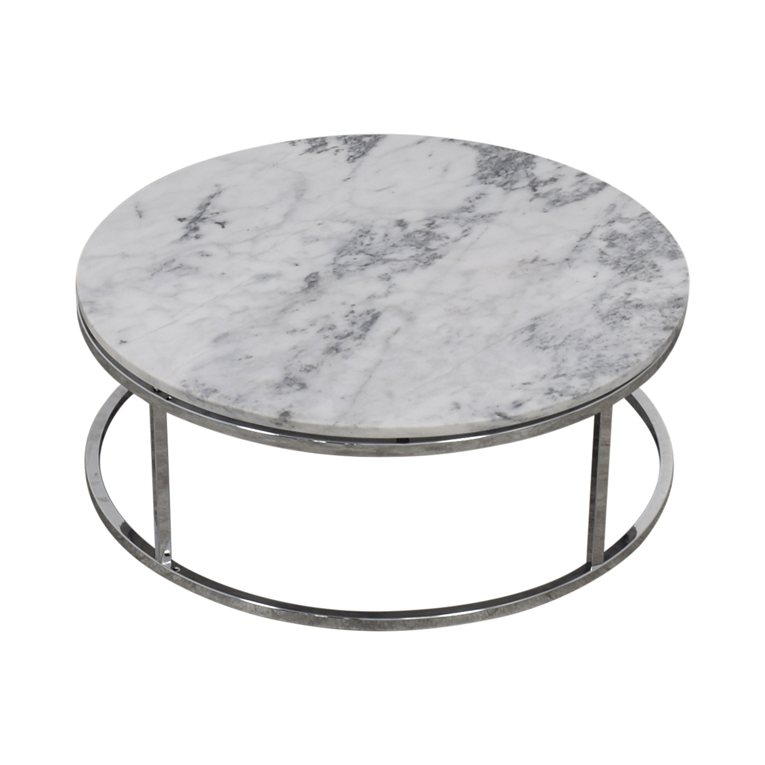 shop CB2 Round White Marble Coffee Table CB2