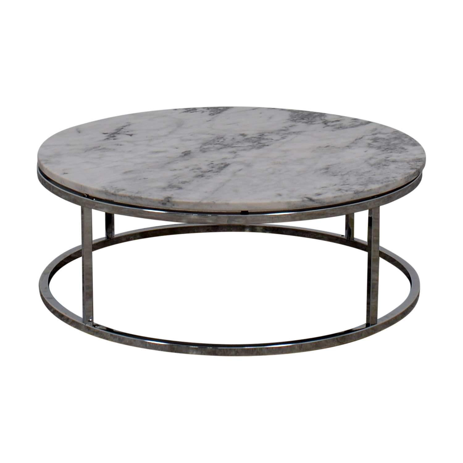 CB2 CB2 Round White Marble Coffee Table Off White / Grey / Chrome