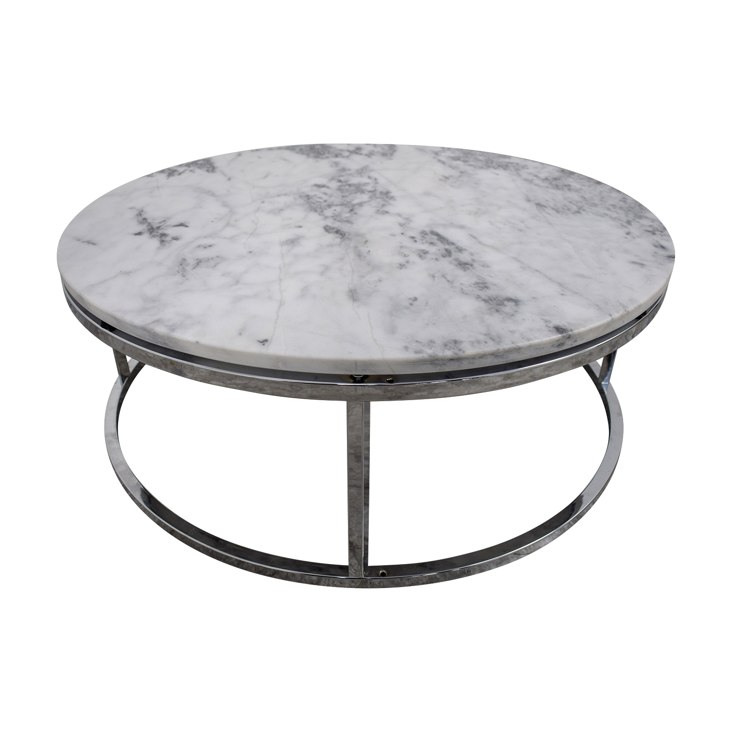 57 Off Cb2 Cb2 Round White Marble Coffee Table Tables