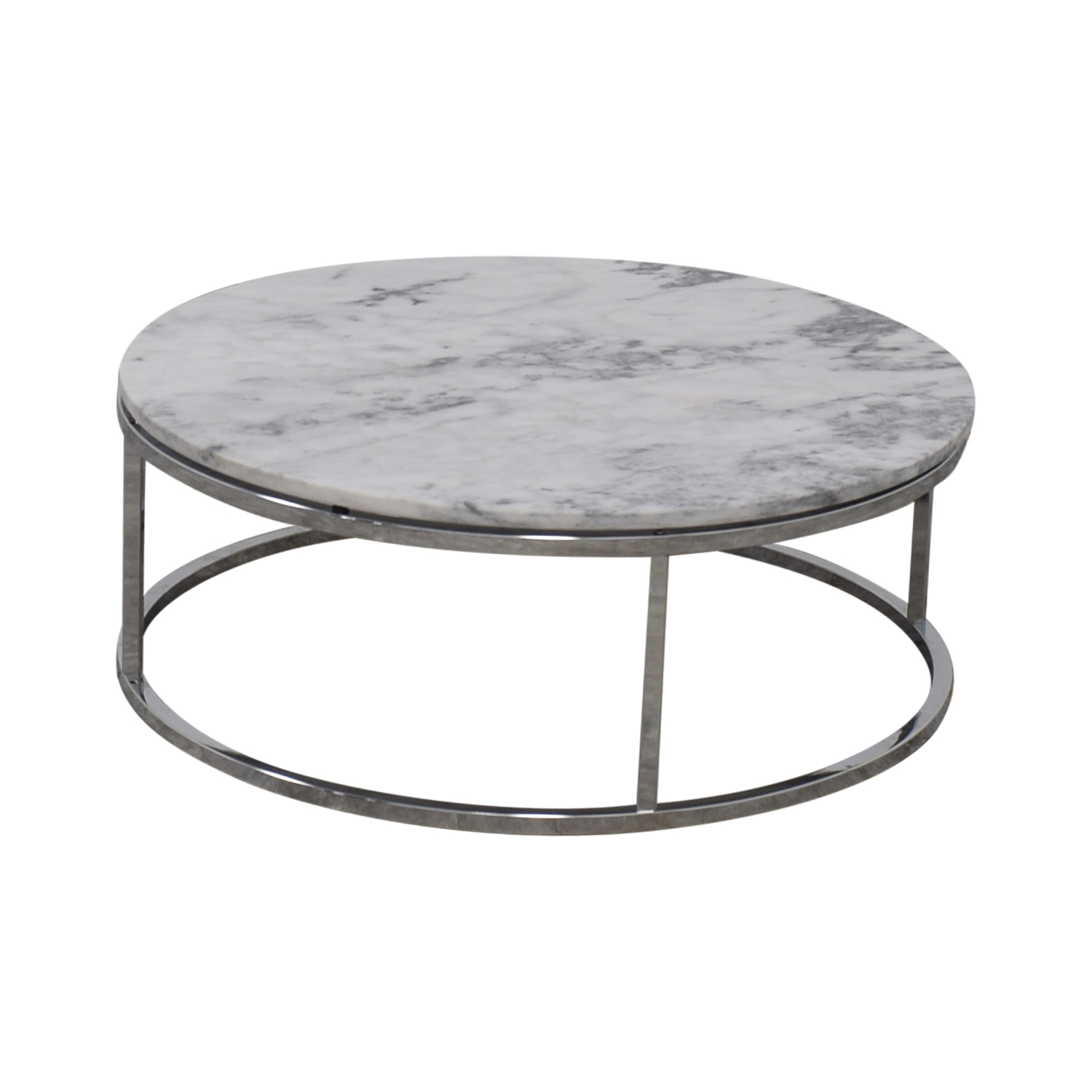 CB2 Round White Marble Coffee Table / Tables