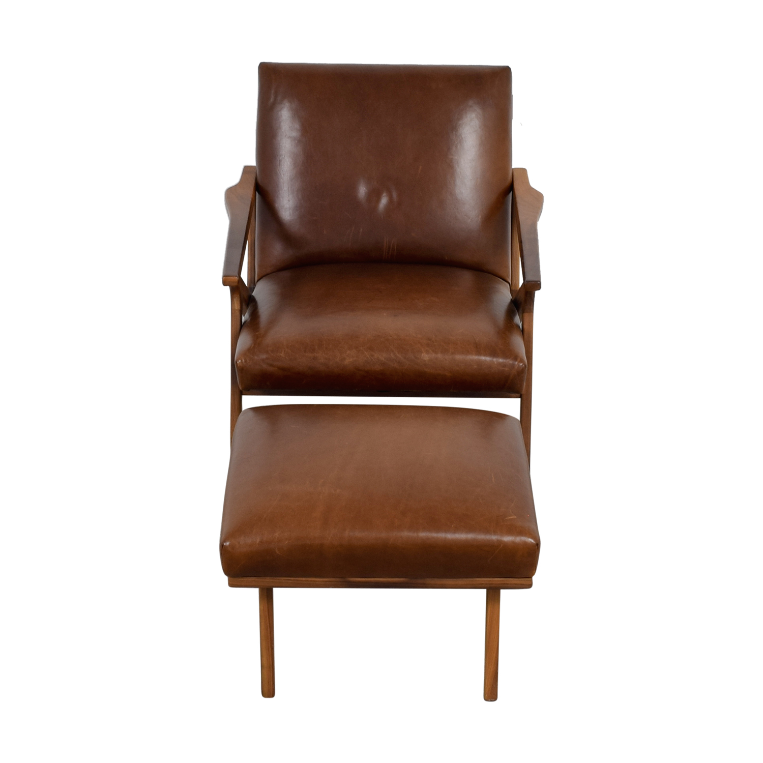 buy Crate & Barrel Brown Leather Chair and Ottoman Crate & Barrel Chairs