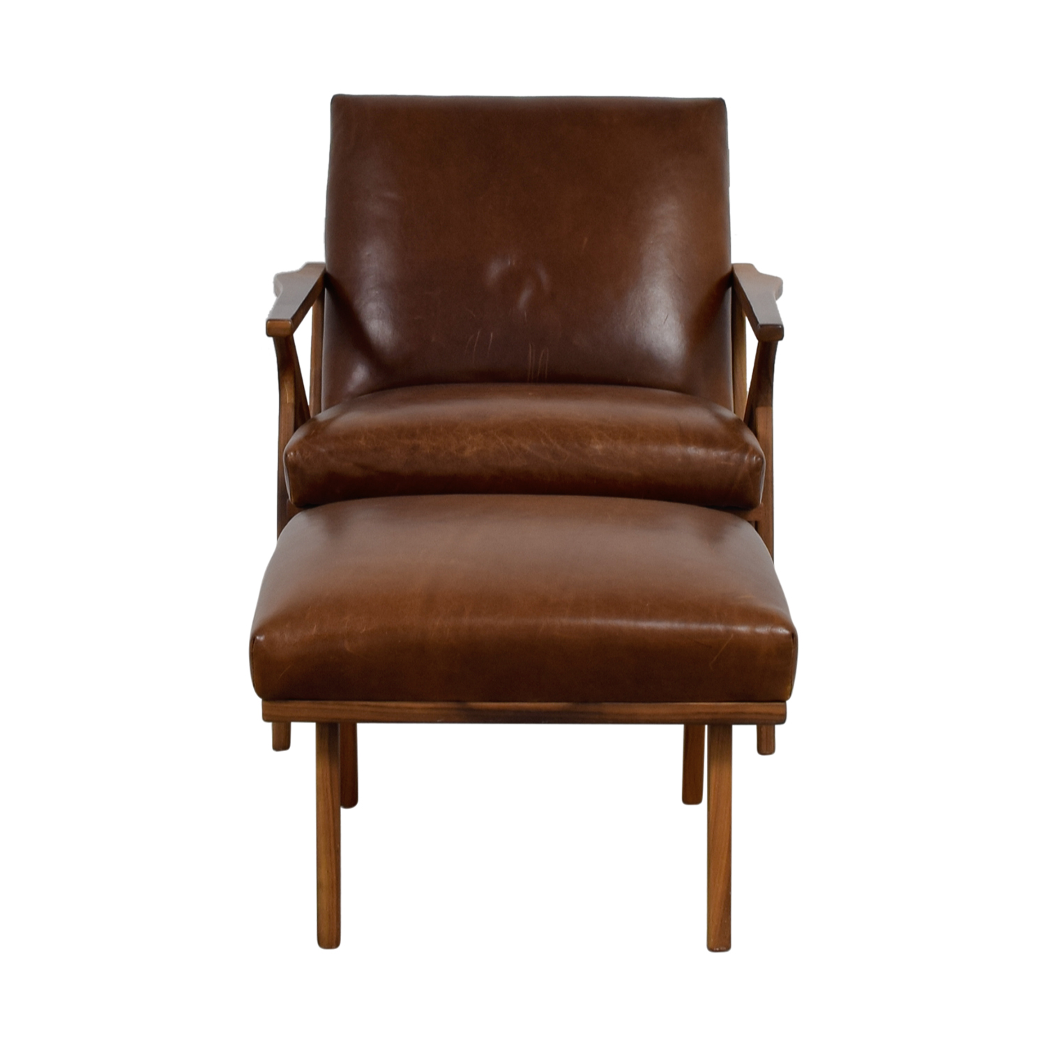 Crate & Barrel Crate & Barrel Brown Leather Chair and Ottoman