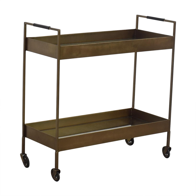 74% OFF - Crate & Barrel Crate & Barrel Libations Antique Brass Bar Cart /  Tables