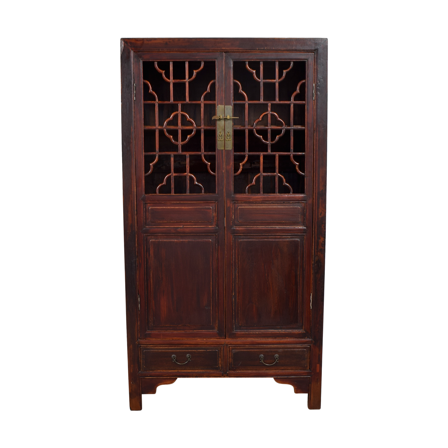 Antique Chinese Carved Wood Armoire nj