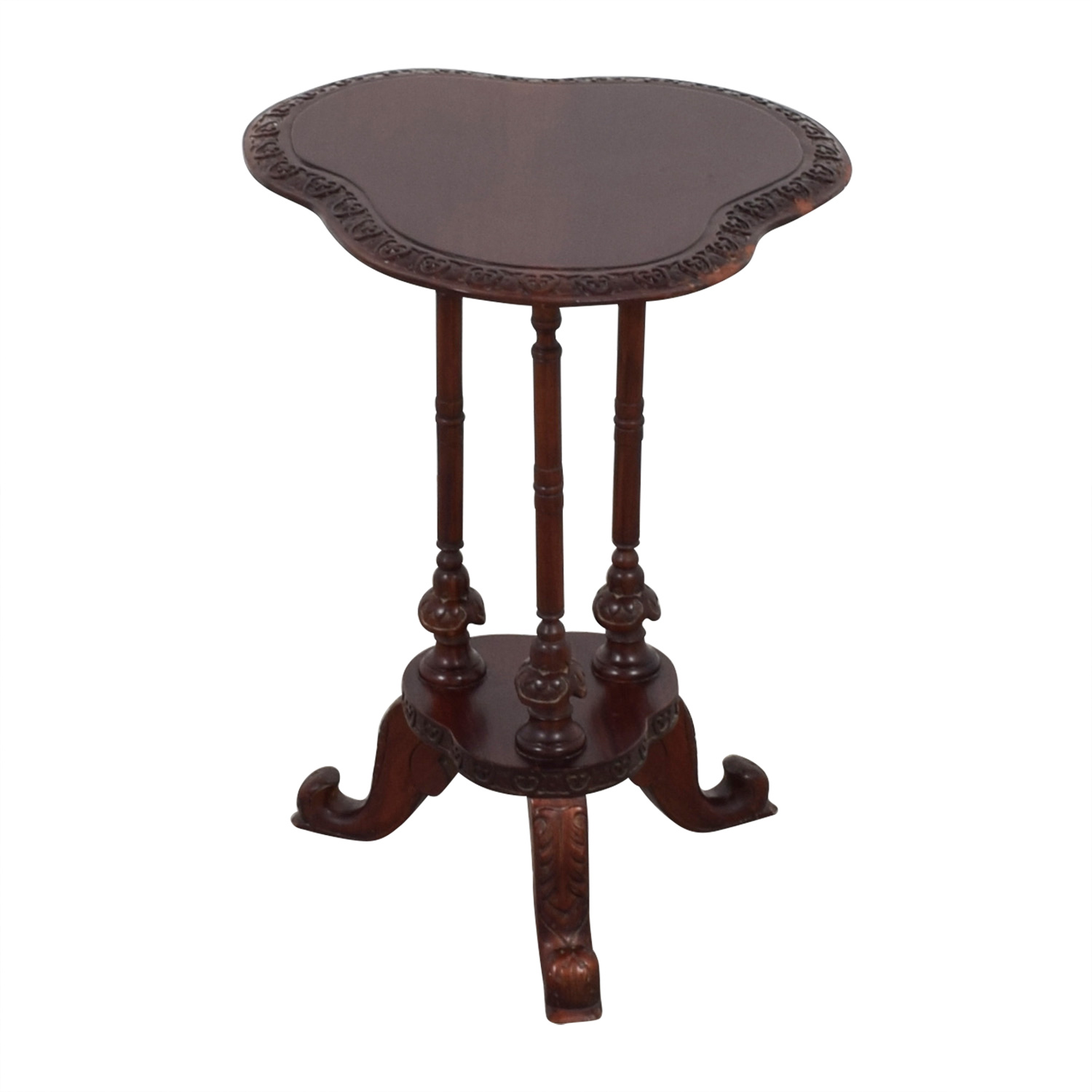 Hand-Carved Hardwood Celtic Side Table / End Tables