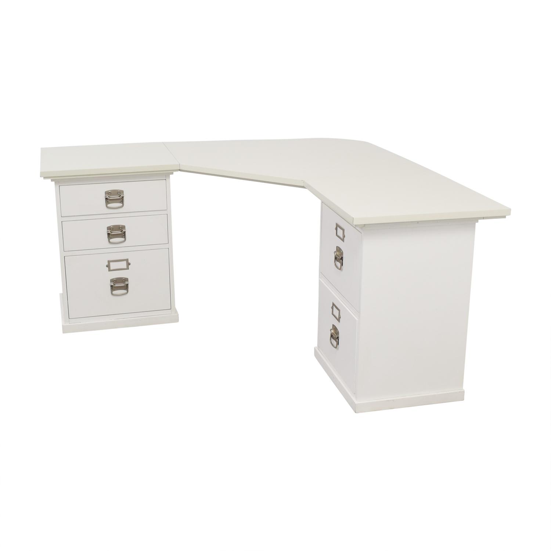 Pottery Barn White Five Drawer Corner Desk For